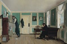 Wilhelm Bendz Room in Amaliegade with the artist's brothers Oil on Canvas 1826