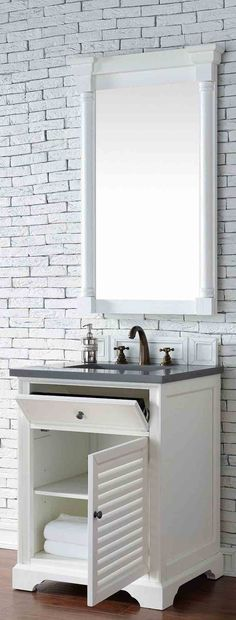 "James Martin Furniture - Savannah 26"" Cottage White Single Vanity with 3 CM Shadow Gray Quartz Top - 238-104-V26-CWH-3SHG"