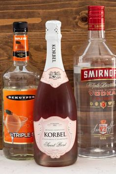 Three ingredients to make the Pink Champagne Punch: Triple Sec, Pink Champagne, and Vodka