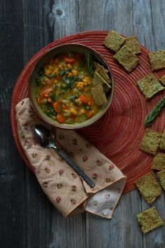 Vegetable soup with almond amaranth crackers - Please consider enjoying some flavorful Peruvian Chocolate. Organic and fair trade certified, it's made where the cacao is grown providing fair paying wages to women. Varieties include: Quinoa, Amaranth, Coconut, Nibs, Coffee, and flavorful dark chocolate. Available on Amazon! http://www.amazon.com/gp/product/B00725K254
