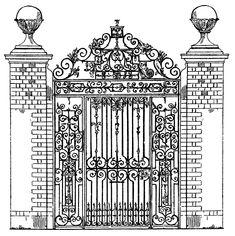 *The Graphics Fairy LLC*: Vintage Clip Art - Ornate Iron Gate - Scrolls