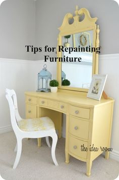 Repainting Furniture 1. Take of Hardware/Prep 2. Sand with Hand Sander/Paper/Block 3. Fill Holes/Fix Issues (woodglue) then sand 4. Use wet rag to get all dust off 5. Prime 6. Paint