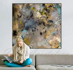 56'' Huge Contemporary Gold Painting, Watercolor Print, Turquoise and Gold…
