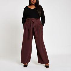 86f78b907c05 Plus burgundy paperbag wide leg trousers. Attachant De CeinturePantalon À  Jambes ...