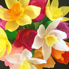 Daffodils and tulips made of Italian crepe paper