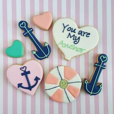 """""""""""You are my anchor"""" Valentine's cookie packs now available @saltologie in Jacksonville Beach ♡ #sugarcookies #decoratedcookies #decoratedsugarcookies…"""""""