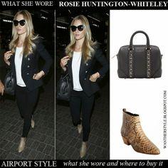 Rosie Huntington-Whiteley in brown python snake print ankle boots Saint Laurent, black blazer, white top, skinny jeans with black bag Givenchy  #rosiehw #rosiehuntingtonwhiteley #fashion