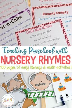 Are you looking for a fun, engaging way to introduce early math and literacy skills to your youngest learners? Teaching with Nursery Rhymes is the perfect, low-prep teaching tool for tots and preschoolers. #preschool #kindergarten Nursery Rhyme Crafts, Nursery Rhymes Preschool, Nursery Rhyme Theme, Classic Nursery Rhymes, Alphabet Nursery, Rhyming Preschool, Rhyming Activities, Preschool Learning Activities, Preschool Kindergarten