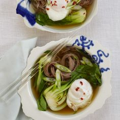 Soba Noodles with Dashi, Poached Egg and Scallions  | Food & Wine
