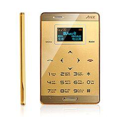 katito AiEK M3 Mini Pocket Ultra Slim OLED Cell Mobile Phone GSM M3 MP3 Bluetooth Card Size (Gold) katito