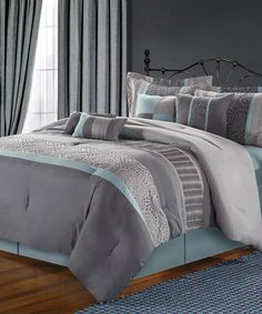 Blue & Grey Mustang Embroidered Comforter Set | Daily deals for moms, babies and kids