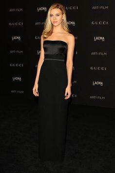 Nicola Peltz Black Strapless Evening Dress 2014 LACMA art and film festival
