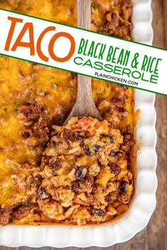 Taco Black Bean and Rice Casserole - a quick and easy Mexican casserole! Can make ahead and refrigerate until ready to bake. Ground beef, taco seasoning, black beans, diced tomatoes and green chiles, tomato sauce, salsa, rice, sour cream, and cheddar cheese. Makes a ton!!! We LOVE this easy side casserole recipe!