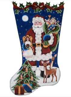 click here to view larger image of angel topper santa stocking hand painted canvases santa stockingchristmas stockingneedlepoint
