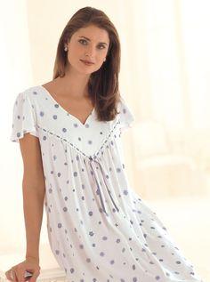 Fine Cotton Jersey Nightdress in Pure Cotton Night Shirts For Women, Night Dress For Women, Clothes For Women, Night Wear Dress, Night Gown, Cotton Nighties, Nightgown Pattern, Stylish Blouse Design, Pretty Lingerie