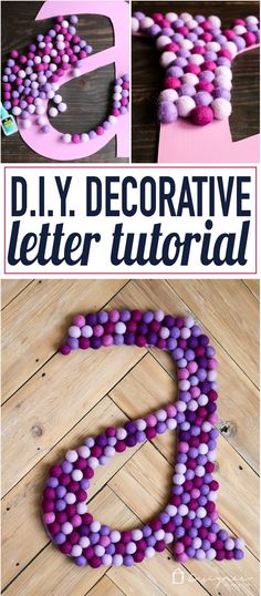 this has to be one of the best decorative letters I have ever seen! Love the idea of this big decorative letter. It's perfect to make a huge impact on a wall! Diy Letters, Letter A Crafts, Decorative Letters For Wall, Homemade Crafts, Easy Crafts, Crafts For Kids, Diy Craft Projects, Craft Tutorials, Craft Ideas