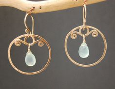 Nouveau 140 Hammered swirl hoops by CalicoJunoJewelry on Etsy, $68.00