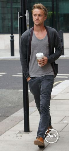 tom felton and Starbucks. start to swoon... Now.