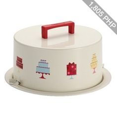 Cake Boss Serveware Metal Cake Carrier with a Mini Cakes motif