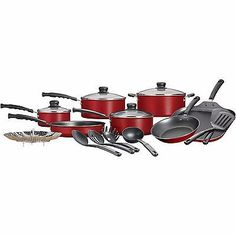 18-Piece Nonstick, Aluminum Cookware Pots and Pans Set Only 2 In Stock Order Today! Product Description: You get all the cooking essentials in just one package with this Mainstays 18-Piece Nonstick Co
