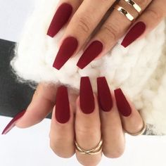 Ad: Matte Coffin Fake Nail With Tape. Tags: Burgundy, ABS, False Nails nails nails nails nails for teens fall 2019 fall autumn fake nails nails natural Dark Red Nails, Burgundy Nails, Matte Maroon Nails, Red Ombre Nails, Nagel Hacks, Aycrlic Nails, Manicure, Bling Nails, Cute Acrylic Nails