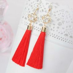 Red Tassel Earrings with Gold Square and Crystal
