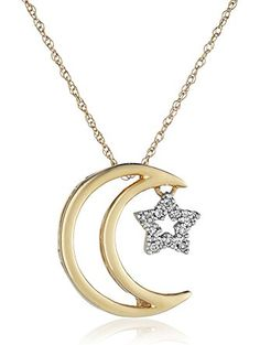 "14k Yellow Gold Moon and Star Diamond Pendant Necklace, 18"" ❤ Amazon Collection"