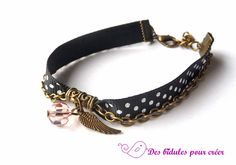 Bracelet petits pois, plume et perle en cristal