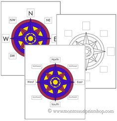 FREE Printable Montessori material - Compass Rose Worksheets & Control Charts (in color and black/white). Printable Montessori geography materials, cards, and lessons for children by Montessori Print Shop. Geography Activities, Teaching Geography, Social Studies Activities, Teaching Social Studies, Teaching Tools, Educational Activities, Summer Activities, Preschool Activities, Teaching Ideas