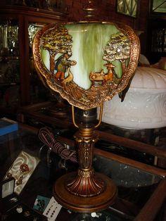 Scenic Bent Panel Slag Glass Boudoir Lamp
