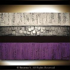 Purple Abstract Palette Knife paintings