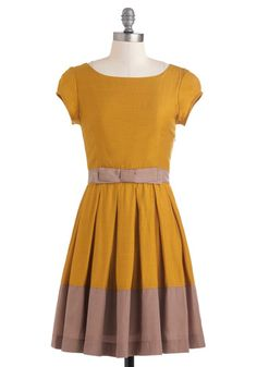 sweet mustard yellow and tan color-block dress w/ bow waist detail Life is a Maize Dress, #ModCloth