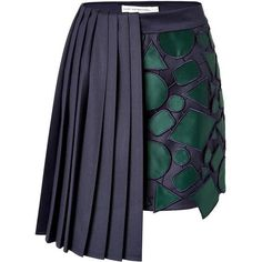 A high-fashion hybrid of classic and contemporary this dark-hued mini from Mary Katrantzou features razor-sharp pleating on one side and emerald-hued satin pa - Mini Skirts - Ideas of Mini Skirts Navy Pleated Skirt, Pleated Shorts, Mary Katrantzou, Skirt Outfits, Chic Outfits, Skirt Fashion, Fashion Dresses, High Fashion, Fashion Spring