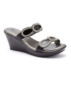 Another great find on #zulily! Black Roundup Wedge Sandal by White Mountain #zulilyfinds