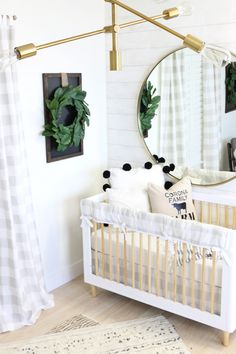 This modern farmhouse nursery is AMAZING! Love love love everything about the clean simple lines and neutral colors.