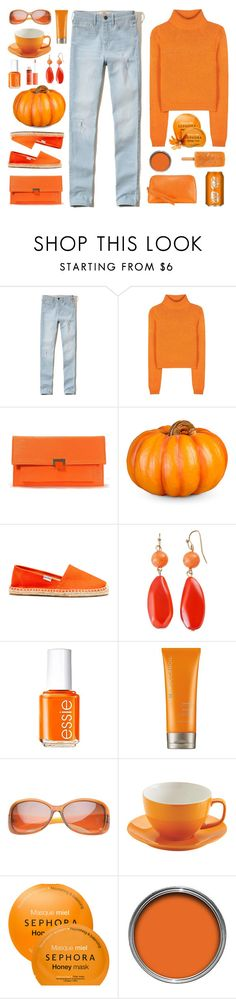 """""""orange organized"""" by tinkertot ❤ liked on Polyvore featuring Hollister Co., Acne Studios, Improvements, Soludos, Essie, Moroccanoil, Price & Kensington, Sephora Collection, Aspinal of London and NYX"""