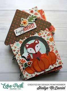 """Happy Harvest Mini Book by Shellye McDaniel with the """"The Story of Fall"""" collection by #EchoParkPaper."""