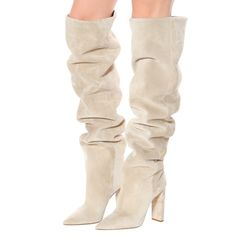 Beige Slouchy Boots Genuine Suede Over-The-Knee Boots with Block heel for $106.99   Up2Step Thigh High Boots, High Heel Boots, Suede Boots, Over The Knee Boots, Heeled Boots, High Heels, Stiletto Boots, Suede Leather, Calf Boots