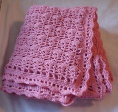 Thursday's handmade love week 62 Theme: baby girl blankets Includes links to free crochet patterns  Warm Intricate Pattern Pink Crochet Afghan for Bed, Lap, or Wrap via Etsy