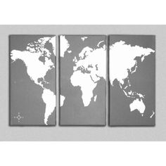 World Map Canvas Giclee Triptych - Grey and White (185 CAD) found on Polyvore