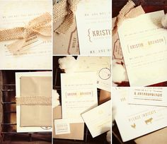 Awesome burlap invitations... I am all about burlap! :)