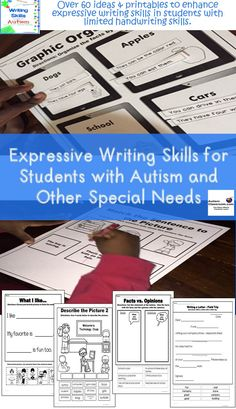 Students who have trouble with handwriting can still increase expressive writing skills--opinion pieces, organizing paragraphs, researching a topic, organizing facts vs. opinions, etc. https://www.teacherspayteachers.com/Product/Writing-Skills-for-Students-with-Autism-Special-Needs-50-off-1st-24-hours-2153771