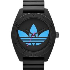 adidas Originals 'Santiago XL' Silicone Strap Watch, 50mm ($90) ❤ liked on Polyvore featuring jewelry, watches, adidas originals watches, adidas originals, retro watches, sporty watches and silicone strap watches