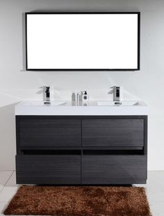Bliss 60 in. Double Sink Gray Oak Free Standing Modern Bathroom Vanity The Bliss is one of the most elegant modern Bathroom Vanities around. This 60 Inch Double Sink model comes with a reinforced Acrylic composite sink, Marine Veneer Constructed Console Single Sink Vanity, Vanity Sink, Double Vanity, Modern Shower, Modern Bathroom, Master Bathroom, Kohler Sink, Bathroom Fixtures, Closets