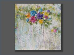 Large colorful abstract oil painting done with palette knife on canvas  TITLE: Spring is in the air  SIZE: 30 x 30 MEDIUM: Oil. Protected with a semi-gloss varnish. CANVAS: Gallery-wrapped canvas with 1.5 thickness. The edges are painted, so a frame is not needed. SIGNATURE: Signed on the front.  PAYMENT: Pay Pal or any major credit card. SHIPPING: Your order can be shipped worldwide, 1-3 business days after receiving payment. For international shipping, please ask me for a quote. If you are…