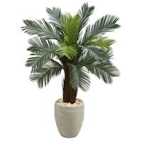 Nearly Natural ft. Cycas Artificial Tree in Oval Planter UV Resistant (Indoor/Outdoor), Green Silk Plants, Cactus Plants, Silk Arrangements, Colored Vases, Silk Tree, Artificial Tree, Tropical Design, Snake Plant, Lush Green
