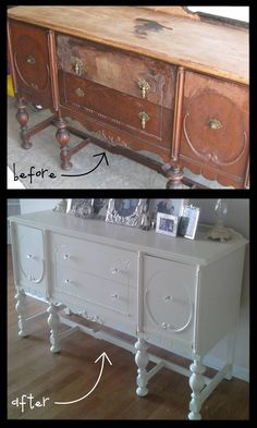 """Craigslist before and after. Trick: """"If you abhor sanding as much as I, grab some high grip primer, one that says it will adhere to a glossy surface, and you're good to go."""" She also used a paint sprayer."""