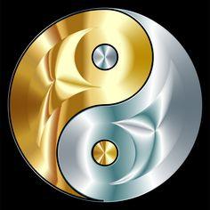 Clipart - Gold And Silver Yin Yang Arte Yin Yang, Ying Y Yang, Yin Yang Art, Ying Yang Wallpaper, Ying Yang Symbol, Yi King, Yin Yang Designs, Yin Yang Tattoos, Graffiti Wallpaper