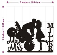 Wedding Cake Topper Silhouette Motorcycle Couple by TrueloveAffair