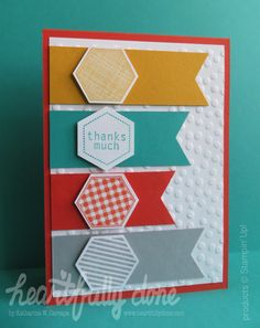 "Hexagon thank you card with stamp set ""Six-sided sampler"" and matching punch. Even the corners of the banners are punched out with the hexagon punch. The background is embossed with the decorative dots embossing folder by Stampin' Up!"